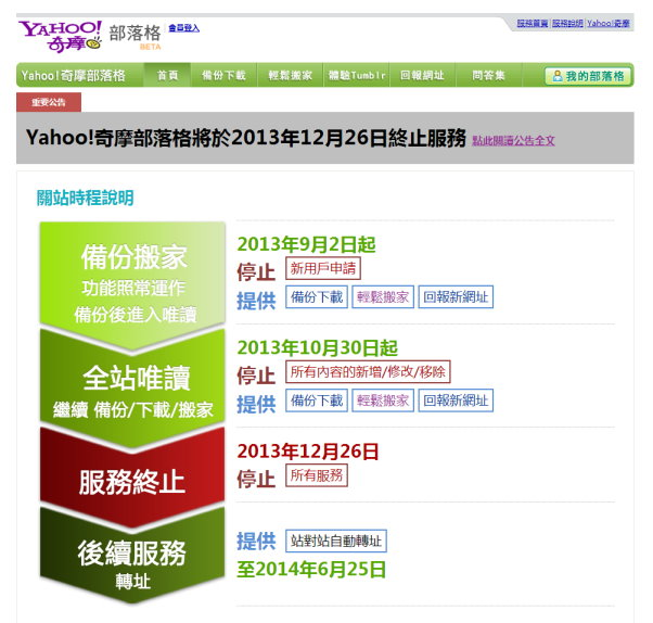 Yahoo奇摩部落格將於2013年10月30日進入全站唯讀模式